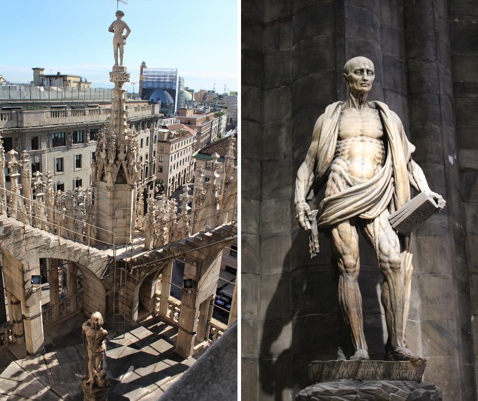 Rzeźba i panorama miasta – Mediolan, Lombardia, Włochy.